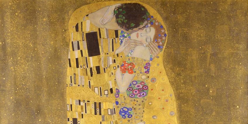 """Gustav Klimt, """"Der Kuss"""" (""""Il bacio""""), olio su tela, 1907-1908 - Österreichische Galerie Belvedere, Vienna (particolare)"""