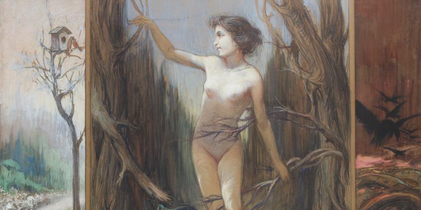 Achille Calzi, Trittico allegorico, secondo decennio del sec. XIX, tecnica mista su carta, mm 680 x 940, collezione privata