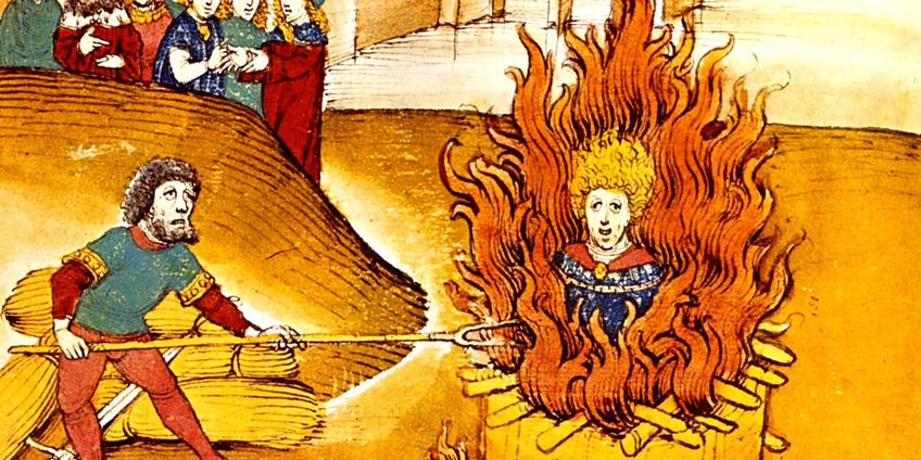 """Il rogo di Jan Hus a Costanza - Diebold Schilling il Vecchio, """"Spiezer Chronik"""", 1485"""