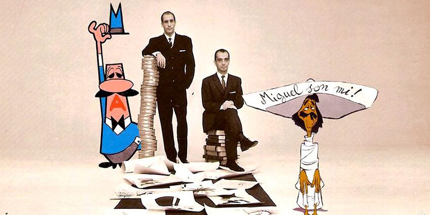 Paul Campani (in piedi) e Max Massimino Garnier con Miguel e l'Omino coi Baffi - Fondo eredi Campani