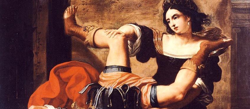"""Elisabetta Sirani, """"Timoclea uccide il capitano di Alessandro Magno"""", 1659, particolare - Museo nazionale di Capodimonte, Napoli"""